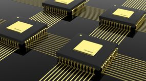 Computer multi-core microchip CPU. On black background Stock Photos