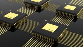 Computer multi-core microchip CPU Stock Photos