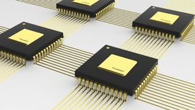 Computer multi-core microchip CPU Stock Photography
