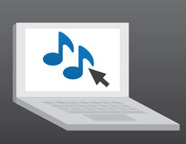Computer Music. Laptop computer with music note symbol Royalty Free Stock Image
