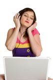 Computer Music Girl Stock Photography
