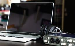 Computer Music Home setup recording equipment Royalty Free Stock Photo