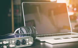 Computer Music Home studio set up equipment. Royalty Free Stock Images
