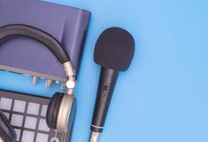 Computer music recording equipment on blue. Computer music interface recording equipment on blue Royalty Free Stock Image