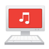 Computer Music Note. Computer with large music note on the screen Stock Photos
