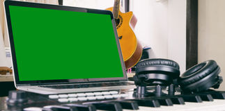 Computer Music producing station with blank screen Stock Photography