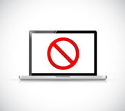 Computer with a negative sign. Dont. Stock Photos