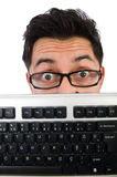 Computer nerd with keyboard isolated Stock Photo