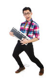 Computer nerd with keyboard isolated Royalty Free Stock Photos