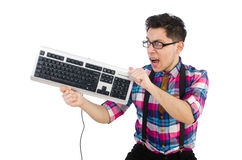 Computer nerd with keyboard isolated Stock Image