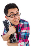 Computer nerd with keyboard isolated Stock Images