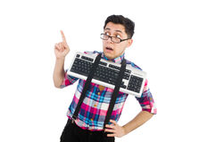 Computer nerd with keyboard isolated Stock Photos