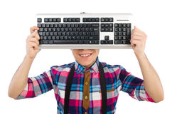 Computer nerd with keyboard isolated Royalty Free Stock Photography