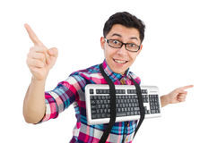 Computer nerd with keyboard isolated Stock Photography