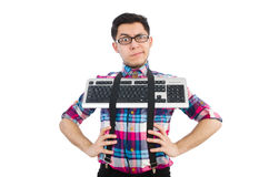 Computer nerd with keyboard isolated Royalty Free Stock Image
