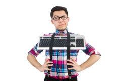 Computer nerd met geïsoleerd toetsenbord Royalty-vrije Stock Afbeelding