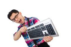 Computer nerd met geïsoleerd toetsenbord Stock Fotografie