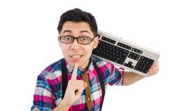 Computer nerd met geïsoleerd toetsenbord Royalty-vrije Stock Foto's