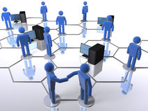 Computer network. Business network with computers and 3D figures Royalty Free Stock Photography