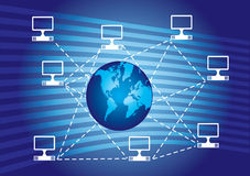 Computer network. Abstract illustration on the blue background Stock Photography