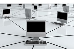 Computer Network. Internet Concept with desktop pc Stock Photography