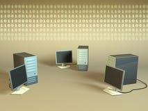 Computer network. PC network generating a binary data stream. CG illustration royalty free illustration