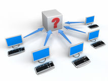Computer Network with arrows and question Stock Photography
