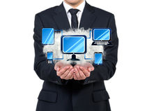 Computer network. Businessman holding cloud with computer network scheme Royalty Free Stock Photography