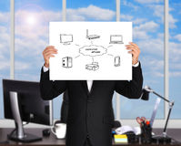 Computer network. Businessman holding placard with a computer network Royalty Free Stock Image