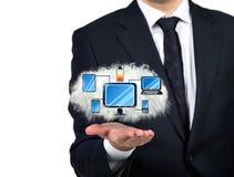 Computer network. Businessman holding computer network scheme, close up Stock Images