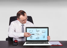 Computer network. Businessman pointing to screen laptop with computer network Stock Photo