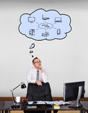Computer network. Businessman standing in office and dreaming about computer network Stock Images