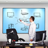 Computer network. Businessman standing in office and pointing to  computer network Royalty Free Stock Photography