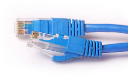 Computer Network Cable. Two network rj45 plugins closeup Royalty Free Stock Photos