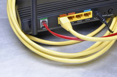 Computer network cable and internet route Stock Images