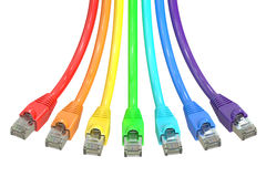 Computer network cables, 3D rendering Royalty Free Stock Images