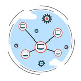 Computer network, cloud computing, remote control concept. Flat design style vector illustration Royalty Free Stock Images