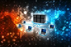 Computer Network, Computer Connected to Server. 3d render. Computer Network, Computer Connected to Server. Global internet Communication Concept. 3d rendering royalty free illustration