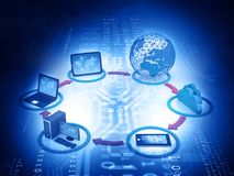 Computer Network. And internet communication concept. 3d illustration Royalty Free Stock Images