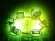 Computer Network. And internet communication concept. 3d illustration Stock Photo