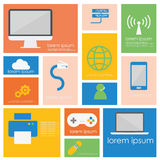 Computer network connection and smart device icon set Stock Photo