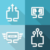 Computer and network connections icons set.Vector illustration. Flat style Stock Image