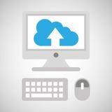 Computer network desktop cloud upward Royalty Free Stock Photography