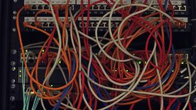 Computer network equipment and multiple plugs and cables. 4K video stock video footage