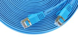 Computer network ethernet cable. Blue computer network ethernet cable isolated on white background Stock Photography