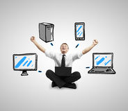 Computer network. Happiness man sittitng with notebook and drawing computer network Stock Images