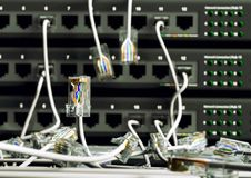 Computer Network Hub. Local area network cables and network connection hub Stock Image