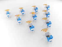 Computer Network. Human group Computer Network wifi 3D Render Royalty Free Stock Images