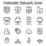 Computer network icon set in thin line style Stock Photo