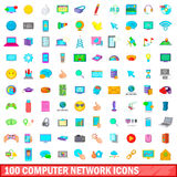 100 computer network icons set, cartoon style. 100 computer network icons set in cartoon style for any design vector illustration Royalty Free Stock Photography